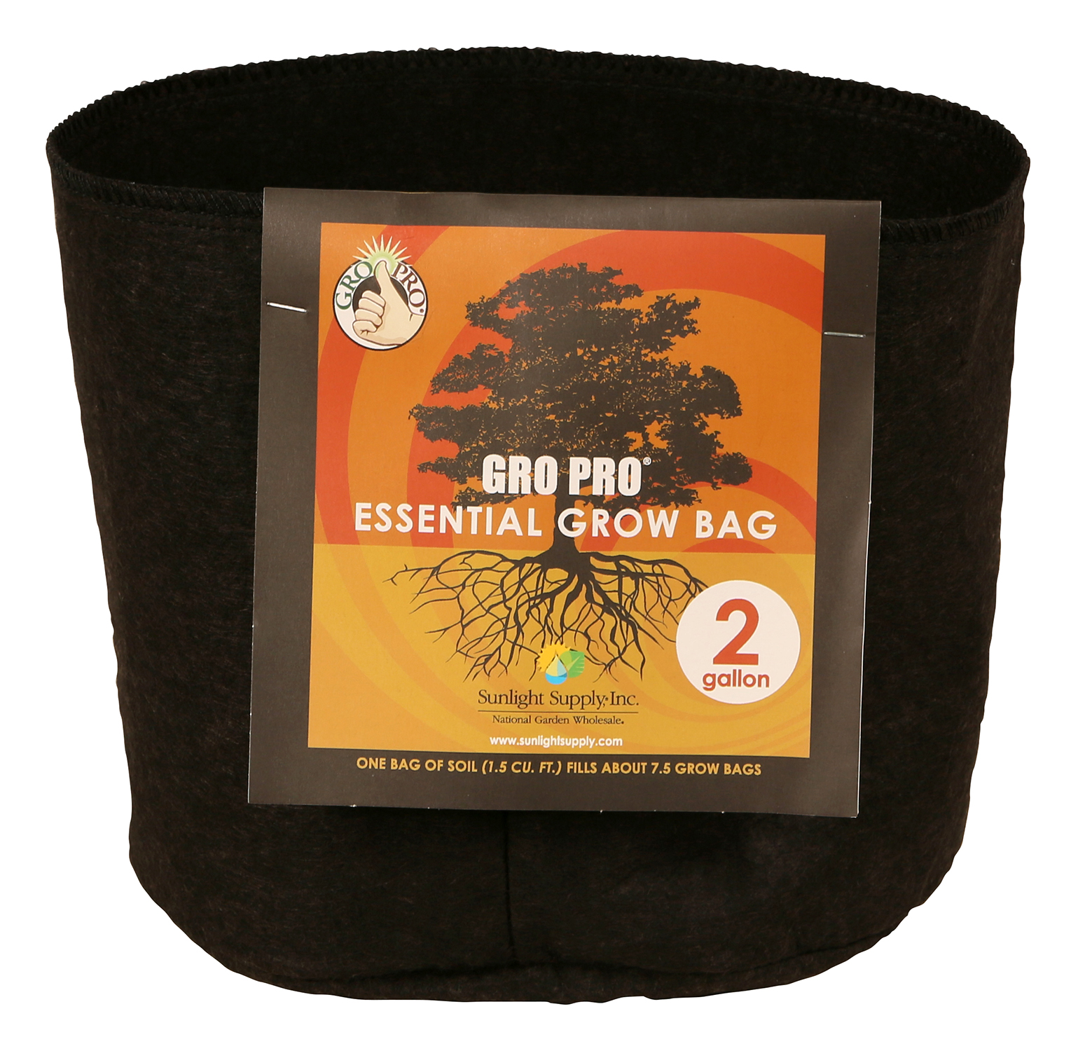 Gro Pro Essential Round Fabric Pot 2 Gallon