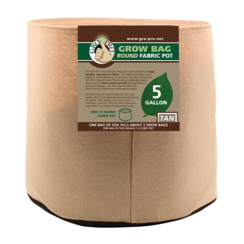 Gro Pro 5 Gallon Round Fabric Pot-Tan