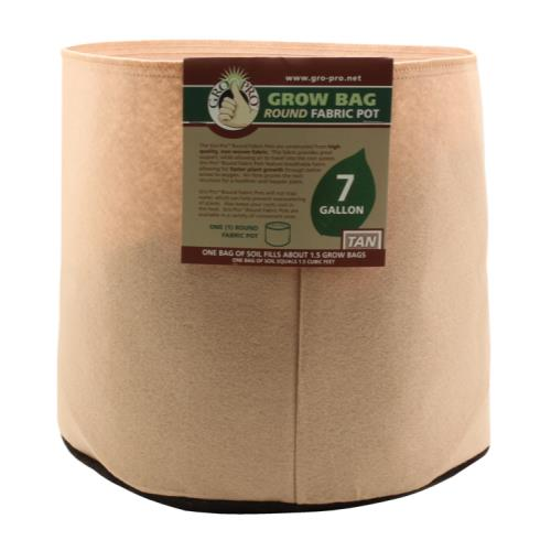 Gro Pro 7 Gallon Round Fabric Pot-Tan
