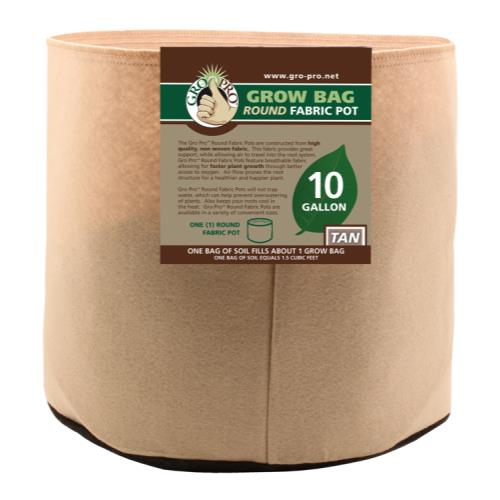 Gro Pro 10 Gallon Round Fabric Pot-Tan